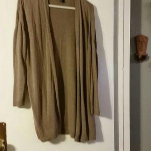 Woman's brown H&M Basic long cardigan sz L